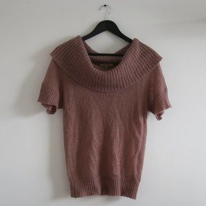 RW&CO Pink Cowl Neck Short Sleeve Top